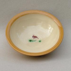 Spiseskål 1980, lertøj med begitning. diameeter 15,5 cm