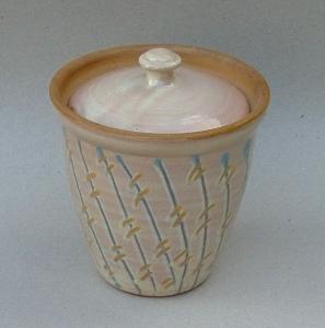 Marmeladekrukke, 1982 Lertøj med begitning, diameter 10 cm, højde 12 cm
