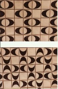 Fliser, 1976, porcelæn. Hver flise måler 5cm x 5 cm.