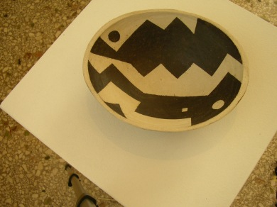 Oval skål, steingods, 23 cm på den lengste led, 2008